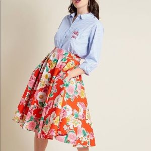 ModCloth Hell Bunny Orange Floral A-Line Skirt